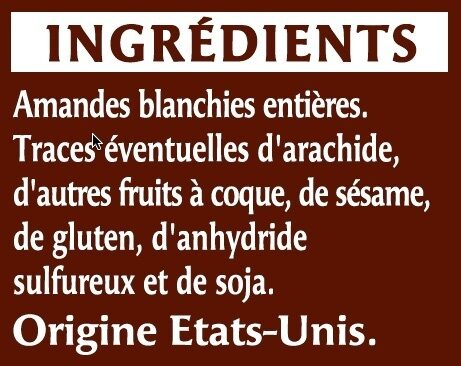 Amande émondée - Ingredients - fr
