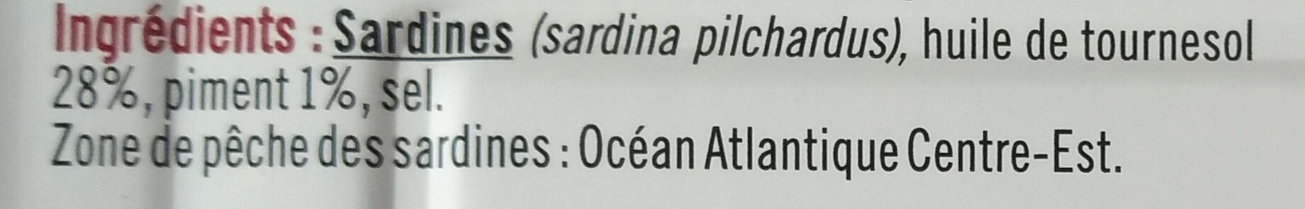 Sardines à l'huile de tournesol et au piment - Ingrediënten - fr