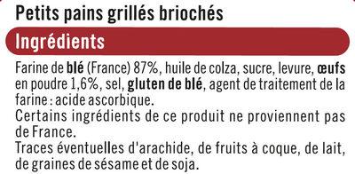 Petits pains grillés briochés - Ingrédients - fr