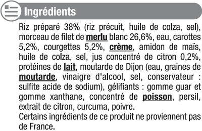 Merlu blanc sauce citron et riz - Ingrédients - fr