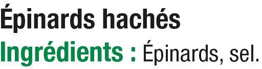 Epinards hachés - Ingredients - fr