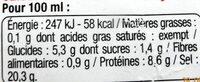 Sauce soja - Nutrition facts - fr