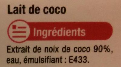 Lait de coco - Ingrediënten