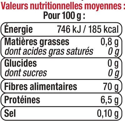 Champignons noirs déshydratés - Informations nutritionnelles