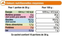Tortillas Chips goût Salé - Informations nutritionnelles