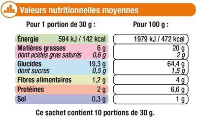 Tortillas Chips goût Salé - Informations nutritionnelles - fr
