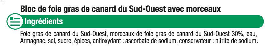 Bloc de foie gras de canard du Sud Ouest 30% de morceaux - Ingrediënten - fr
