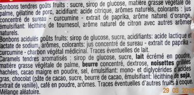 "Acidul""s Bonbons tendres, Caraels tendres - Ingrediënten"