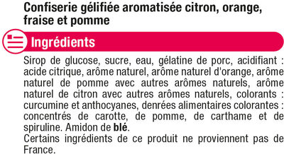 Confiserie gélifiés frites - Ingrediënten