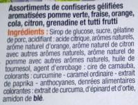 assortiment de gélifiés - Ingrédients - fr
