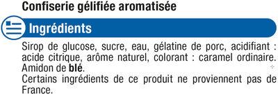 Confiserie gélifiée cola - Ingrediënten