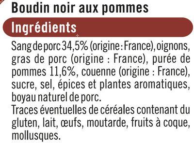 Boudin noir pommes - Ingrédients