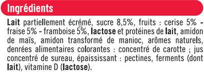 Yaourts brassés sucrés à la pulpe de fruits rouges - Ingredients