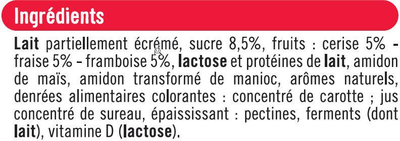 Yaourts brassés sucrés à la pulpe de fruits rouges - Ingrediënten