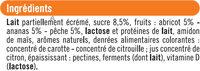 Yaourt brassé mix sucré à la pulpe de fruits jaunes - Ingredients