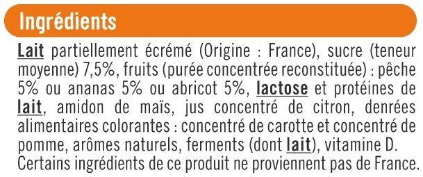 Yaourt brassé mix sucré à la pulpe de fruits jaunes - Ingrédients