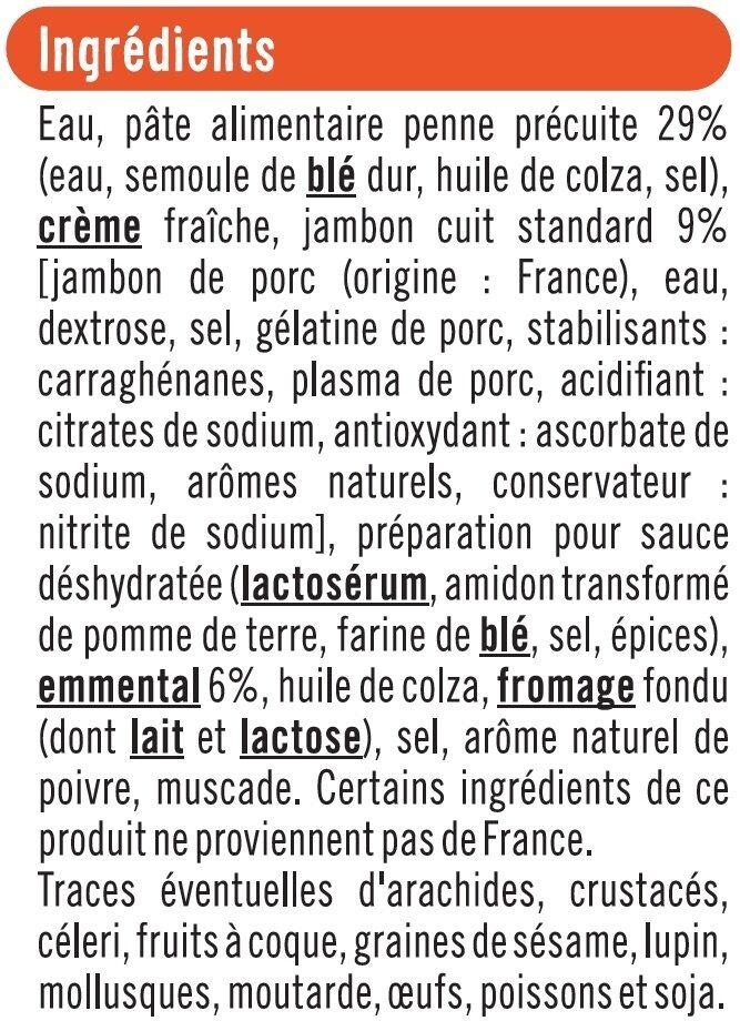 Gratin de penne au jambon - Ingrédients - fr