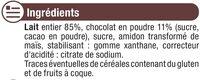 Crème dessert saveur chocolat - Ingrédients - fr