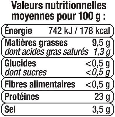 Brisures de saumon fumé - Informations nutritionnelles