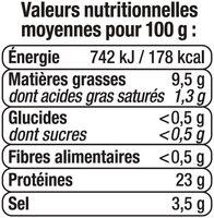 Brisures de saumon fumé - Informations nutritionnelles - fr