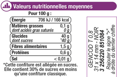 Confiture figue allégée - Informations nutritionnelles - fr