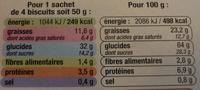 Sablés Céréales nappés de Chocolat au Lait - Voedingswaarden - fr