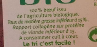 Steack haché maxi tendre, 15% MAT.GR. - Informations nutritionnelles