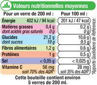 Pur jus d'orange sans pulpe - Voedingswaarden - fr