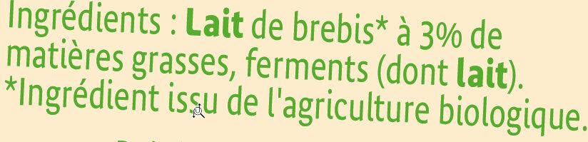 Yaourts bio nature au lait de brebis - Ingrediënten - fr