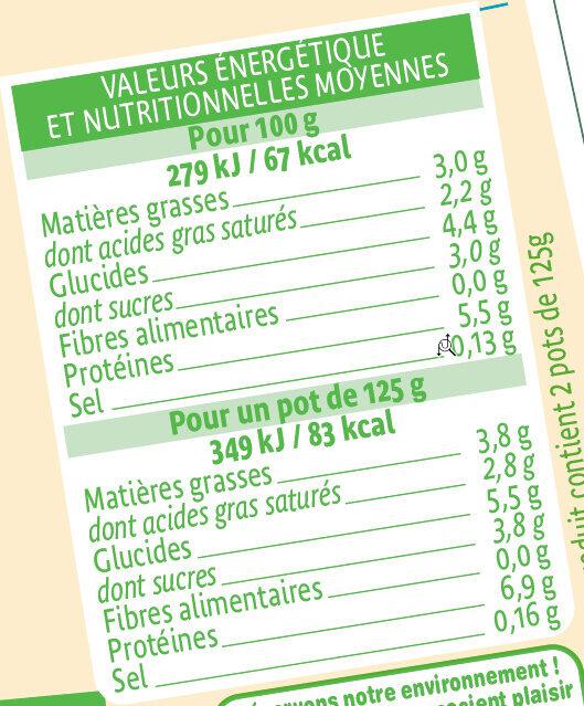 Yaourts bio nature au lait de brebis - Voedingswaarden - fr