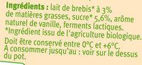 Yaourts bio au lait de brebis saveur vanille - Ingrédients - fr