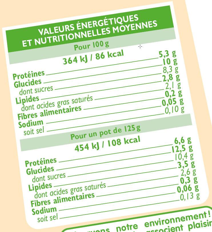 Yaourts bio au lait de brebis saveur vanille - Informations nutritionnelles - fr