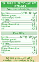 Pain de mie spécial sandwich nature grandes tranches - Voedingswaarden - fr