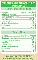 Pain de mie spécial sandwich nature grandes tranches - Valori nutrizionali - fr