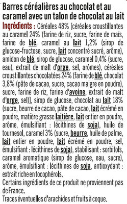 Barres croustilllantes au caramel et chocolat - Ingrédients - fr