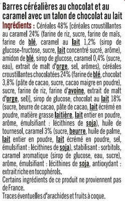 Barres croustilllantes au caramel et chocolat - Ingrediënten