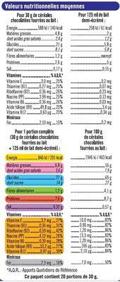 Céréales chocolatées fourrées au lait - Informations nutritionnelles