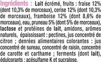 Yaourt allégé en sucres aux fruits rouges 0% de MG - Ingredients