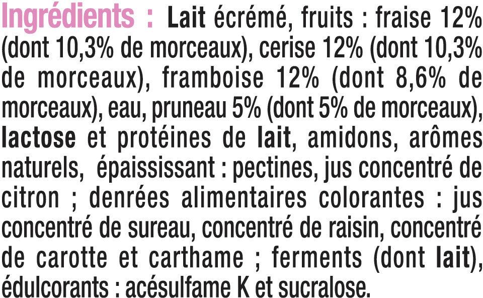 Yaourt allégé en sucres aux fruits rouges 0% de MG - Ingrédients