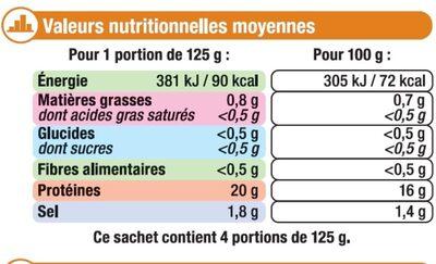 Blancs de calmars - Informations nutritionnelles - fr
