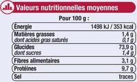 Farine de blé patissière T45 - Informations nutritionnelles