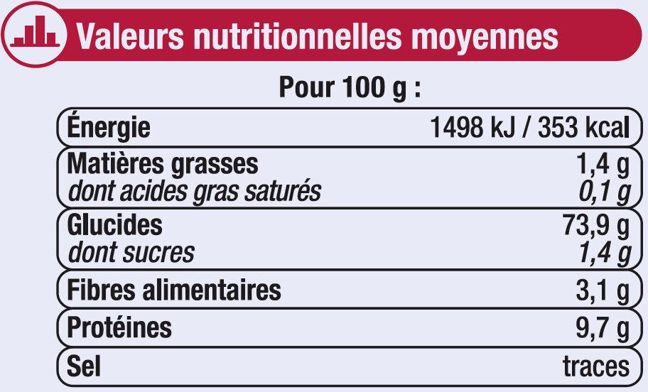 Farine de blé pâtissière T45 - Valori nutrizionali - fr