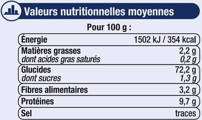 Farine fluide T45 - Nutrition facts