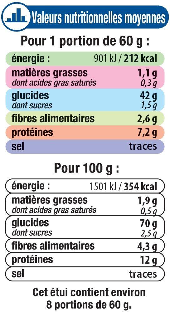 Graine couscous grains moyens - Nutrition facts