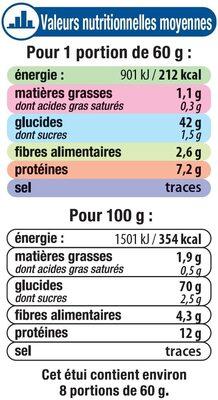 Graine couscous grains moyens - Informations nutritionnelles - fr