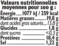 Fromage de chèvre lait pasteurisé 19,8% de matière grasse Bio - Informations nutritionnelles - fr