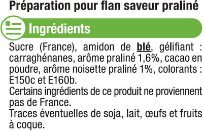 Les entremets préparation pour flan praliné - Ingredients