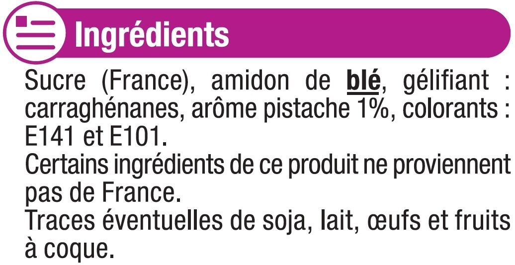 Les entremets préparation pour flan pistache - Ingredients - fr
