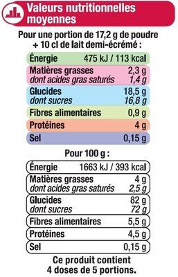Les entremets préparation pour flan chocolat - Nutrition facts