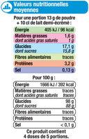 Les entremets préparation pour flan vanille - Nutrition facts